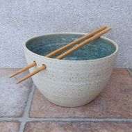 This noodle or rice bowl was thrown on my pottery wheel using strong white speckled stoneware clay, and finished in a lovely mottled sage green reactive glaze. The dish measures 9cm high and 15cm across the bowl. Weight 445 gms ...volume 650mls. Foo...