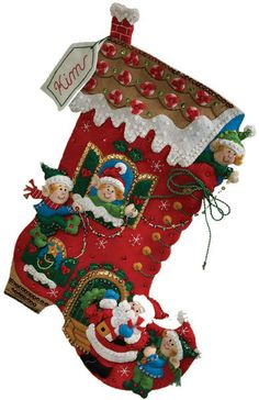 Holiday Decorating Stocking Felt Applique Kit-18  Long