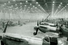 Final assembly hall, Spitfires at Castle Bromwich Aero Factory 'C' Block, around 1943, UK.