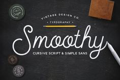 Smoothy - Cursive Script & Sans by Ian Barnard on @creativemarket
