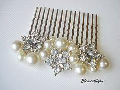 Bridal Pearl comb Wedding accessories Swarovski by Element4you, $25.00