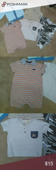 6 month bundle of 3 tops and 2 outer wear 3 tops with 1 blue button up sweater and 1 beige zip up fishing jacket.  See individual photos.. Shirts & Tops