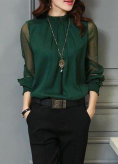 Long Sleeve Deep Green High Neck Blouse | Rosewe.com - USD $28.66