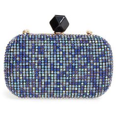 Natasha Couture Crystal Box Clutch ($88) ❤ liked on Polyvore featuring bags, handbags, clutches, blue, clasp purse, blue purse, crystal handbags, crystal box clutch and blue clutches