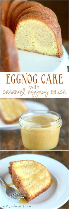 Swirled Eggnog Cake with Caramel Eggnog Sauce- a delicious holiday dessert!