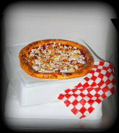 Gâteau Boites à pizza en fondant Pizza box cake in fondant