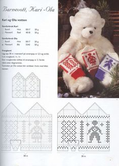 """Photo from album """"Norske Luer - Norske Votter"""" on Yandex. Mittens Pattern, Knitting For Kids, Nye, Cross Stitch, Diagram, Teddy Bear, Wall Photos, Gloves, Album"""