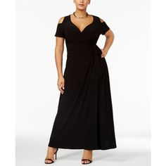 Love Squared Trendy Plus Size Cold-Shoulder Faux-Wrap Dress ($45) ❤ liked on Polyvore featuring plus size women's fashion, plus size clothing, plus size dresses, black, plus size wrap dress, cut-out shoulder dresses, cut out shoulder dress, faux wrap maxi dress and maxi dress