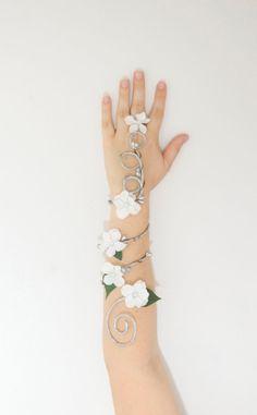 Silver Bridal Arm Cuff by Frecklesfairychest on Etsy, $30.00