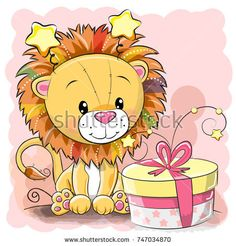 Illustration about Cute Cartoon Lion on a blue background. Illustration of cute, graphic, paper - 103014909 Cartoon Cartoon, Cartoon Drawings Of Animals, Cute Cartoon Animals, Cute Animals, Lion Cartoon Drawing, Lion Tigre, Gift Vector, Vector Art, Vector Graphics