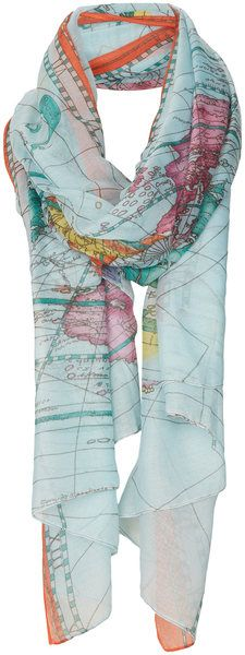Topshop Multicolor Map Print Scarf