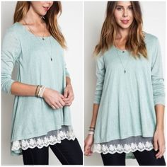"✨New✨Sage Knit Tunic Top with Lace Detail 60% cotton, 40% polyester. Lightweight long sleeve tunic with lace detail front hem. Back is plain. Front is lined. Size large:  bust 20"" armpit to armpit. Length 29"" (front) 34"" (back). Tops"