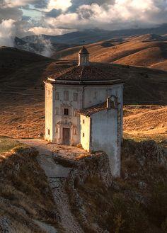 Santa Maria della Pietà, Abruzzo Italy, an octagonal church built in the 17th century. http://en.m.Wikipedia.org/wiki/Rocca_Calascio
