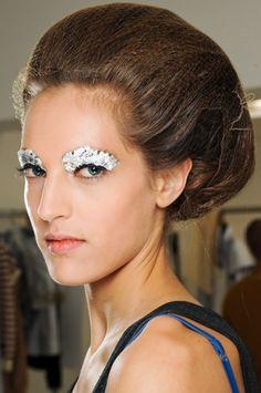 Silver eyeshadow at Fendi Spring 2012