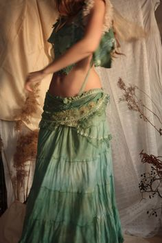 RESERVED Sea garden long skirt  Fae nature spirit by FractalWings