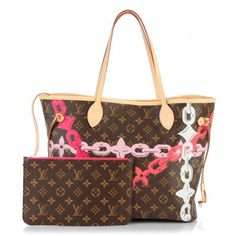 This is an authentic LOUIS VUITTON Monogram Bay Neverfull MM in Rose Ballerine and Poppy. This classic, limited edition handbag is finely crafted of traditional Louis Vuitton monogram coated canvas with the new spring and summer 2016 chain flower print across the surface of the bag.