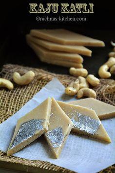 Traditional kaju katli with step by step pictures - almond fudge. Sub orange, vanilla or lemon extract for Kewra essence Indian Dessert Recipes, Indian Sweets, Indian Snacks, Holi Recipes, Sweets Recipes, Cooking Recipes, Jain Recipes, Diwali Recipes, Vegetarian Recipes