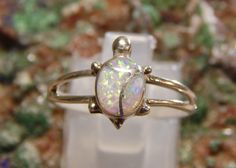 Native American Sterling Opal Turtle Ring by fatcatantique on Etsy