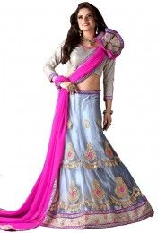 Wedding Wear Pink Net Embroidered Work Lehenga Choli