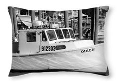 Black And White Photography Throw Pillow featuring the photograph At The Harbor by Cynthia Guinn