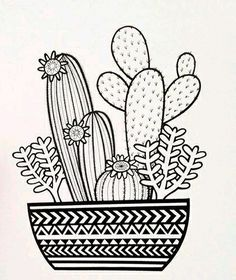 Pattern on the Pot - Cactus Arrangements Ideas - - . - Pattern on the Pot – Cactus Arrangements Ideas – – … – Pencil - Cactus Doodle, Cactus Art, Cactus Plants, Doodle Art Drawing, Mandala Drawing, Drawing Ideas, Doodling Art, Doodle Doodle, Mandala Doodle