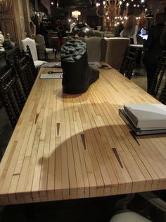 Bowling alley floor table top. @Noir #hpmkt