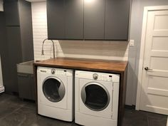 Laundry Room Tables, Ikea Laundry Room, Laundry Room Countertop, Laundry Nook, Karlby Countertop, Diy Wood Countertops, Ikea Furniture Hacks, Ikea Hacks, Laundry Room Inspiration