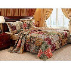 Floral Print Adult Queen Stitched Patchwork Quilt 4 Piece Bedding Set  #Bedding