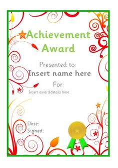 Nice Editable Achievement Certificate. #teachingresources