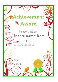 Editable achievement certificate. #teachingresources