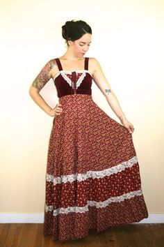51M53. Sz 5 red velvet and red and yellow calico Maxi dress by Gunne Sax with corset top.