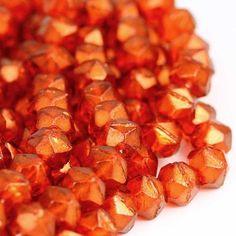 10 Large red orange English cut Czech beads, 10mm