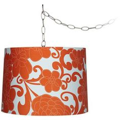 This brushed steel swag chandelier features a bright orange floral pattern for a contemporary twist on retro styles. Style # at Lamps Plus. Rustic Lamp Shades, Modern Lamp Shades, Spider Lamp, Orange Lamps, Orange Chandeliers, Glamour Decor, Lampshade Designs, Floral Lampshade, Burnt Orange Color