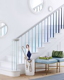 Stair spindles painted in different shades of same color - would this also work for stair risers??