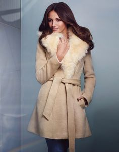 Lipsy Love Michelle Keegan long sleeve coat. In a soft brushed fabric, featuring faux fur collar and belted tie waist. Perfect for those chilly Autumn days. #AW15