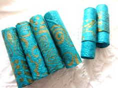 Paper art beads hand rolled tube beads Handmade by shelikesthis