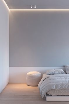 bedroom design minimalism beds How To Light A Minimalist Interior With Single Circuit Tracks & Strips Minimalist Room, Minimalist Home Interior, Home Interior Design, Home Bedroom, Bedroom Decor, Br House, Suites, Ceiling Design, Interiores Design
