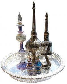 Perfume bottles and Mazhar bottles.  Marokkaanse parfum flessen voor parfumolie en rozen- of oranjebloesemwater www.handoffatima-webshop.nl