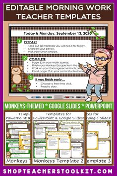 These monkey-themed Editable PowerPoint and Google Slides Teacher Templates include space to type the day and date, reminders of what to do when entering the classroom, as well as 'must do' and 'may do' assignments. Remind your students of their morning assignments during arrival time by displaying them on your whiteboard or SMARTBoard. #teachertemplates #morningarrivalinstructions #editable #powerpoint #googleslides #funthemes #monkeys #safari #jungle