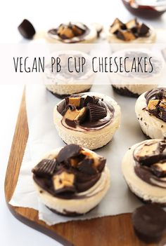 SUPER creamy Vegan PB Cup Cheesecake Bites! 9 ingredients, simple preparation, SO delicious! #vegan