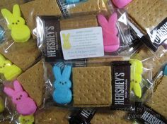 Peeps S'mores Place one Peep, a small Hershey bar, & graham crackers in a bag. Card in bag says: Place chocolate on graham cracker half, Place peep on top of chocolate, Microwave 10-15 seconds & watch, Top off with other graham cracker half & enjoy the gooey goodness. Love this neat idea. Enjoy and share with everyone. :) Jenn