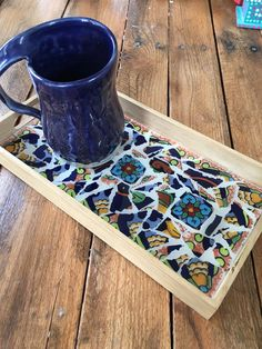 Mosaic Flower Tile Rustic Tray Decorative by GreatEscapeMosaics