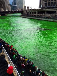 Chicago River is all green after finished dyeing for St Patty's day.