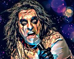 Fan art of Alice Cooper Alice Copper, Kiss Rock Bands, Horror Movie Characters, Aliens Movie, Rock Posters, Band Posters, Rockn Roll, Horror Comics, Punk