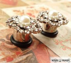 Plugs Gauges  Beautiful Crystal Pearl Wedding Plugs by HouseYeager