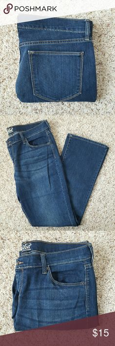Old Navy The Flirt Denim This denim features a mid-rise waist, boot-cut leg, button closure and zip fly. Pre-loved and in excellent condition. 86% cotton, 13% polyester, 1% spandex. Machine washable. Old Navy Jeans Boot Cut