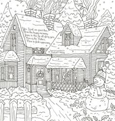 Joy to the World: Adult Coloring Book House Colouring Pages, Fall Coloring Pages, Coloring Book Art, Flower Coloring Pages, Coloring Pages To Print, Mandala Coloring, Free Adult Coloring, Printable Adult Coloring Pages, Camping Coloring Pages