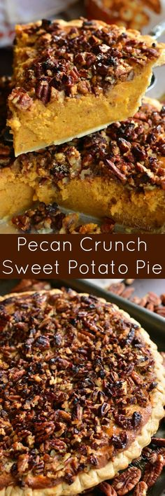 Pecan Crunch Sweet Potato Pie. This creamy, sweet potato pie will make a perfect addition to any holiday celebration and maple pecan topping adds a delightful crunchy texture to every bite.