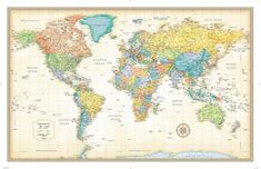 Rand McNally World Classic Push-Pin Travel Wall Map Foam Board Mounted or Framed (Mounted Only) Framed Maps, Wall Maps, Framed World Map, Cool World Map, World Map Poster, Map Posters, Map Wall Decor, Old World Style, Custom Framing