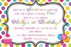 Sweet Shoppe Birthday Invitations - girl or boy - any colors, age - Candy, CandyLand Candy Shop. $13.00, via Etsy.